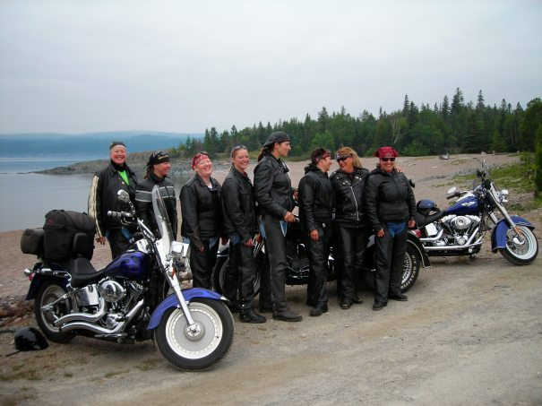 A group of U.S. women touring the north shore of Lake Superior on motor bikes came to wish us well on our kayak trip.