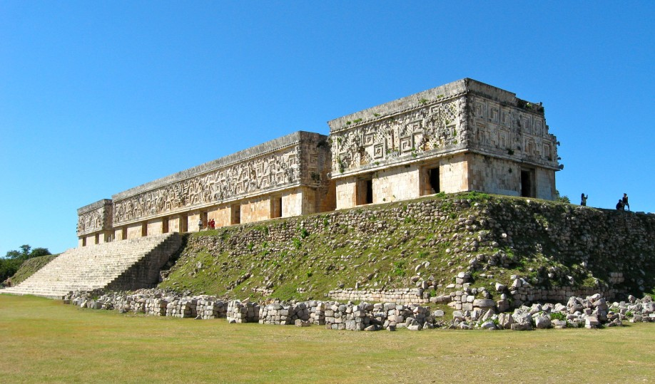 The imposing Governor's Palace at Uxmal is 183 metres long and sits on a base built by hand.