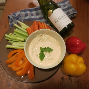 Blue cheese dressing with crudités (sliced raw vegetables)