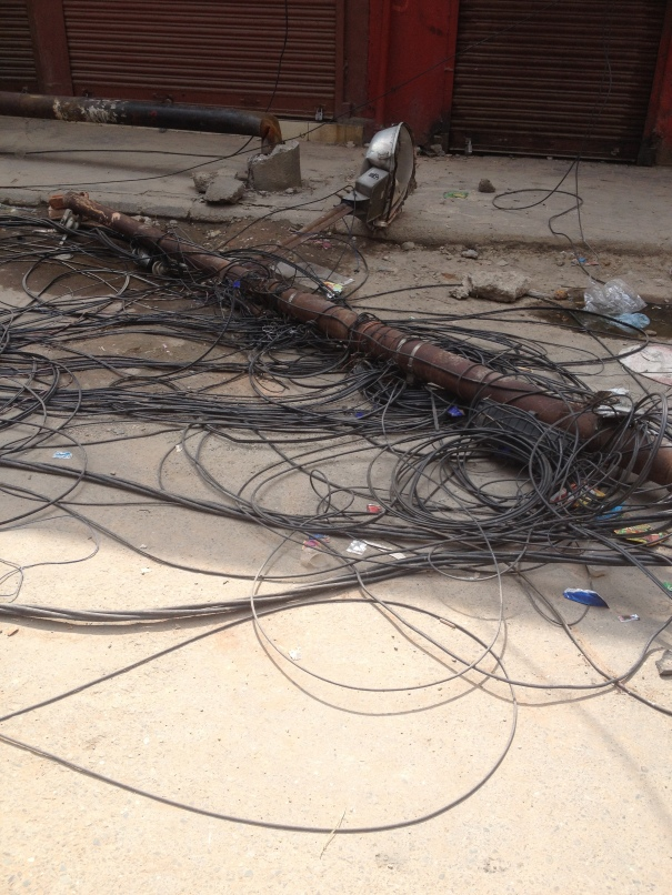 UTILITY POLE LEVELLED BY EARTHQUAKE