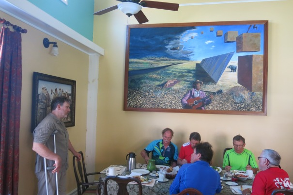 ARTIST DUKER BOWER EXPLAINS HIS PAINTING OVER BREAKFAST