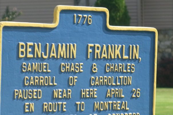 BENJAMIN FRANKLIN STOPPED AT CHAZY ON WAY TO MONTREAL